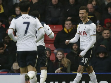 Dele Alli (R) celebrates with his Tottenham teammates. AP
