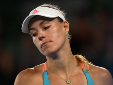 Angelique Kerber reacts after losing a point to Coco Vendeweghe. AFP
