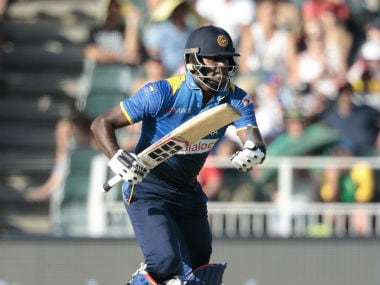 Angelo Mathews in action during his match-winning 54 not out. AFP