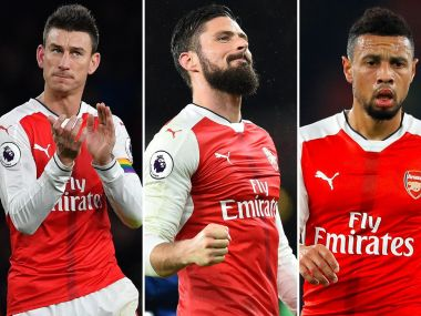 Arsenal's French trio Olivier Giroud, Laurent Koscielny and Francis Coquelin have all agreed contract extensions. AFP