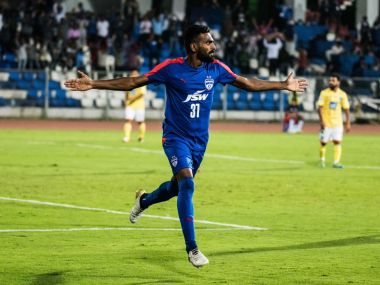 CK Vineeth celebrates after scoring a hattrick against Mumbai FC in the I-League. PTI