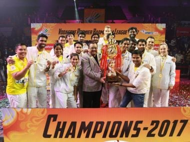 Chennai Smashers with the PBL 2017 trophy. Twitter@PBLIndia