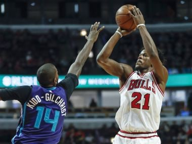 Chicago Bulls forward Jimmy Butler shoots against Charlotte Hornets. AP