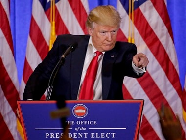 Donald Trump addresses his first press conference after winning the US Presidential election. AP