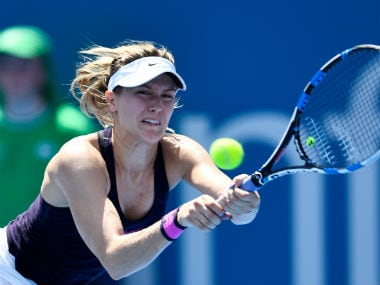 Eugenie Bouchard in action during her first-round clash against Zhang Shuai. Getty Images