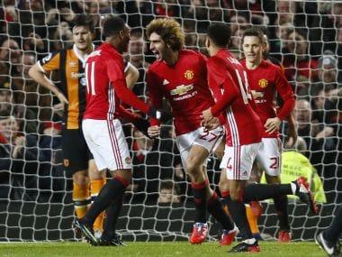 Manchester United's Marouane Fellaini celebrates scoring Manchester United's second goal. Reuters