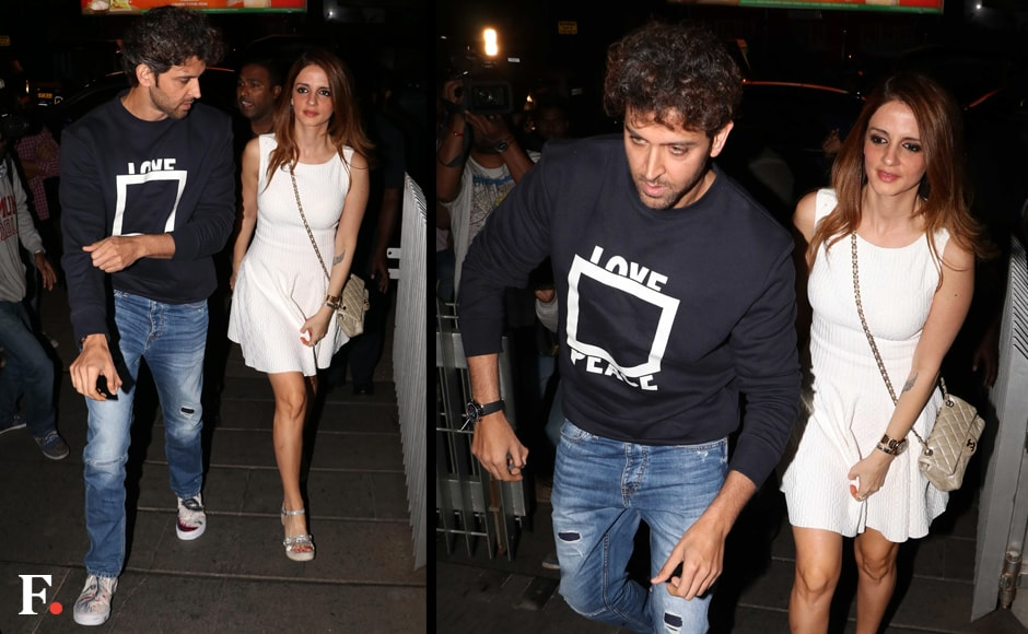 Hrithik Roshan brought in his 43rd birthday with close friends and family. Ex-wife Sussanne Khan's presence at the celebrations caused a fair bit of comment. Image: Sachin Gokhale/Firstpost