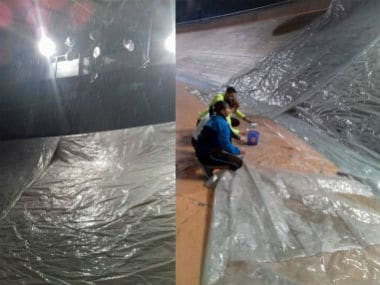 Scenes at the IGI Velodrome, host to the 37th Asian Track Cycling Championships, after heavy rainfall. PTI