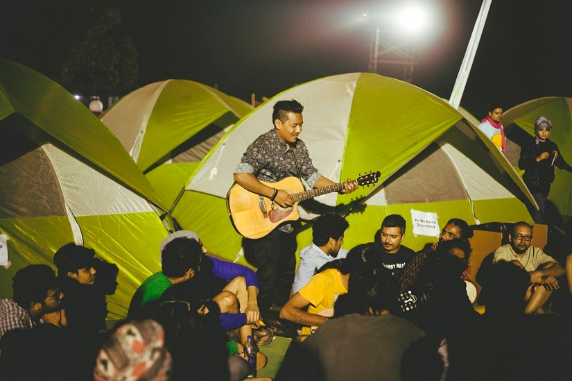 An impromptu jam session at the Magnetic Fields Festival last year. Photo credit: Parizad D