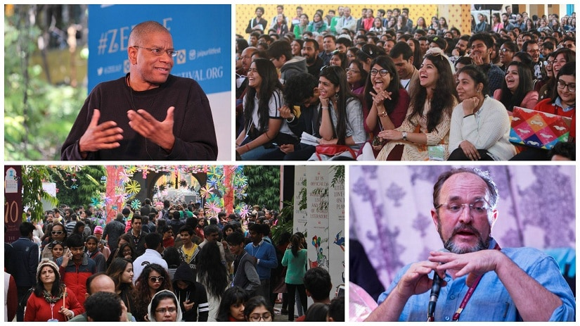 (Top left) Paul Beatty; (above right) fest director William Dalrymple; (top right and above left) crowds at the 10th edition of the Jaipur Literature Festival. Photos courtesy JLF/Facebook