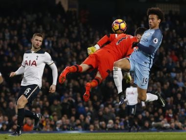 Leroy Sane in action with Hugo Lloris before scoring Manchester City's first goal. Reuters