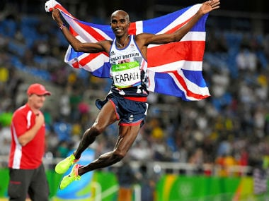 Mohamed Farah of Great Britain celebrates winning the gold medal in the Men's 5000m final on Day 15 of the Rio 2016 Olympic Games at the Olympic Stadium. Getty Images