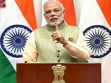 Prime Minister Narendra Modi during he address to the nation on the eve of New Year. PTI