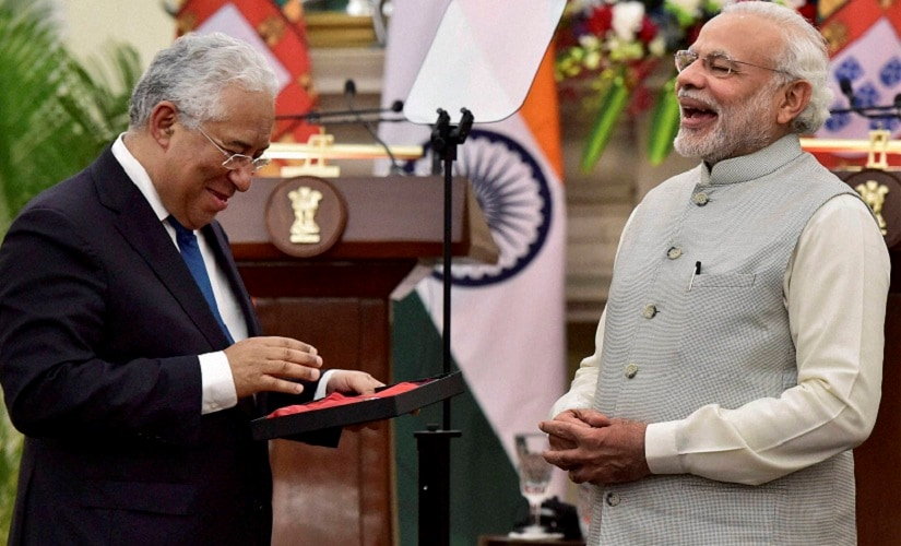 Portugal Prime Minister and Narendra Modi share a light moment. PTI