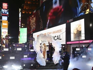 Mariah Carey performs at the New Year's Eve celebration in Times Square. AP