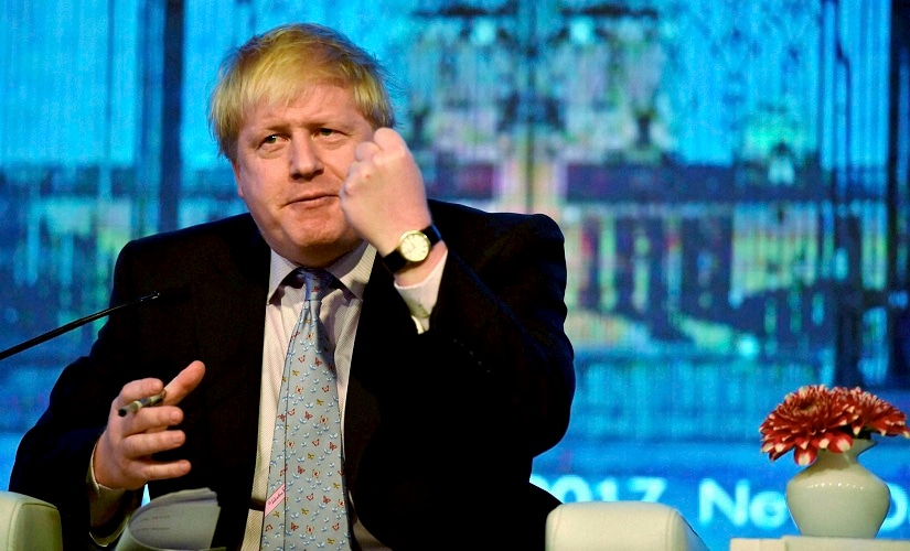 British foreign secretary Boris Johnson speaks at the second edition of the Raisina Dialogue. PTI