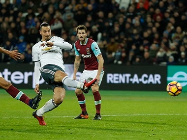 """Britain Football Soccer - West Ham United v Manchester United - Premier League - London Stadium - 2/1/17 Manchester United's Zlatan Ibrahimovic scores their second goal Action Images via Reuters / John Sibley Livepic EDITORIAL USE ONLY. No use with unauthorized audio, video, data, fixture lists, club/league logos or """"live"""" services. Online in-match use limited to 45 images, no video emulation. No use in betting, games or single club/league/player publications. Please contact your account representative for further details. - RTX2XA8Q"""