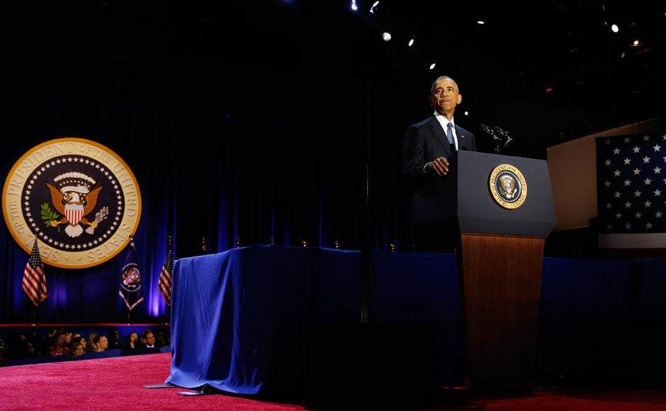 """An emotional Obama said, """"My fellow Americans, Michelle and I have been so touched by all the well-wishes we've received over the past few weeks."""" Reuters"""