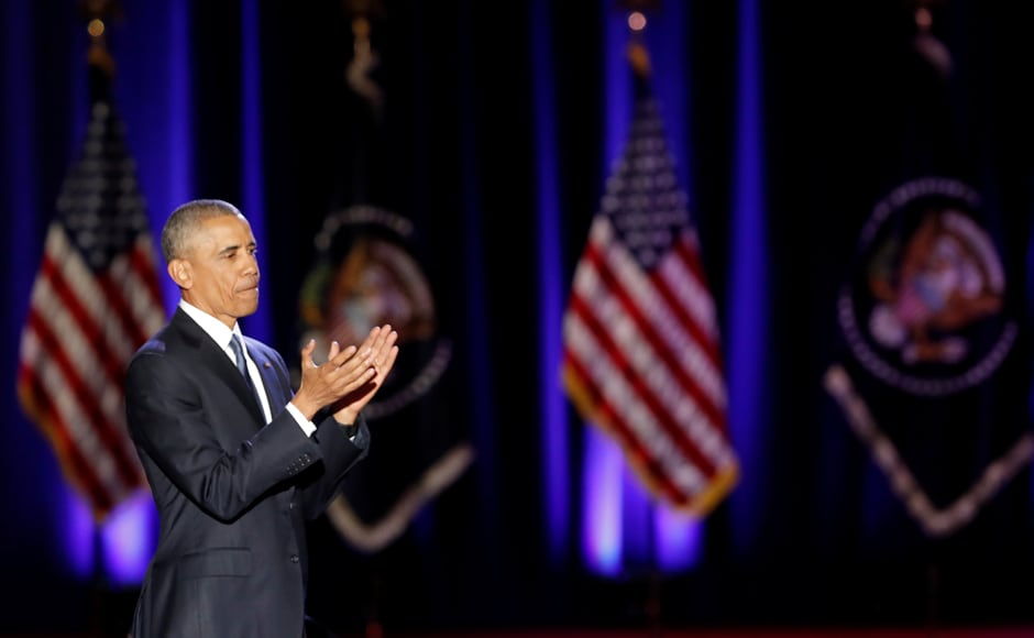 """""""It's the conviction that we are all created equal, endowed by our Creator with certain unalienable rights, among them life, liberty, and the pursuit of happiness."""" Obama told an emotional audience in Chicago. Reuters"""