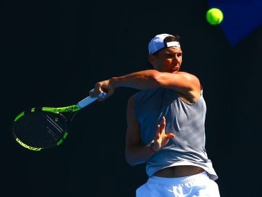 Rafael Nadal during a training session ahead of the Australian Open. Reuters