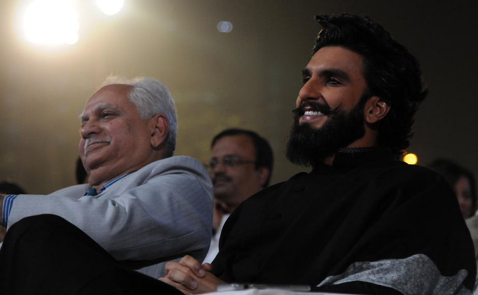 Ramesh Sippy is seen here with Ranveer Singh. Ranveer seemed to have come straight from the Padmavati sets. Photo by Sachin Gokhale/Firstpost