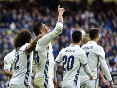 Cristiano Ronaldo scored as Real Madrid equalled Barcelona's unbeaten record. AFP