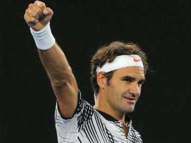 Roger Federer reacts after beating Tomas Berdych in straight sets in Round 3. Reuters