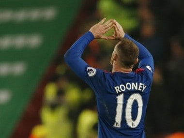 Wayne Rooney celebrates scoring to break the all-time goalscoring record for Manchester United. Reuters