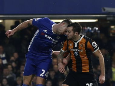 Hull City's Ryan Mason fractured his skull after a clash of heads with Chelsea's Gary Cahill.  AFP
