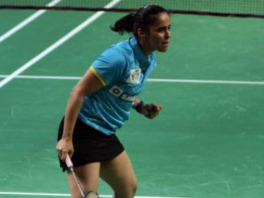 Saina Nehwal at the PBL 2017 against Bengaluru Blasters. Image courtesy:  Twitter/@PBLIndiaLive