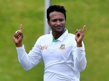 Shakib Al Hasan finished with figures of 3/32 at stumps on Day 2. AFP