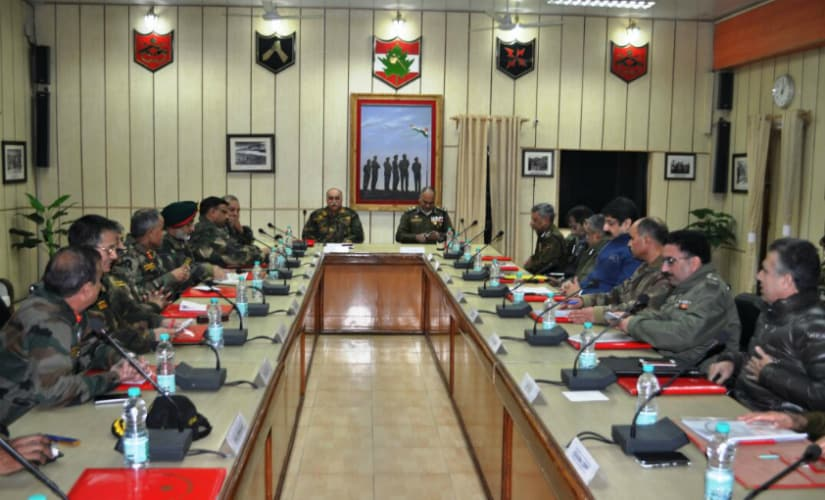 Top security officials discuss the overall situation at the 15 core headquarters in Srinagar. Firstpost/Suhail Bhat