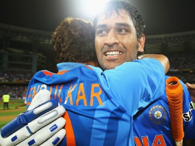 Tendulkar hugs Dhoni after winning the 2011 Cricket World Cup. Getty Images