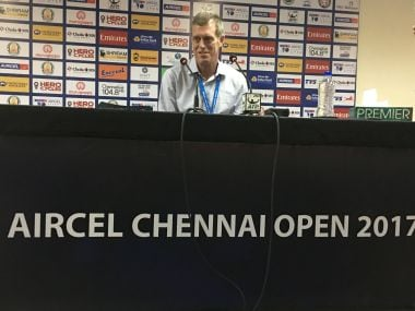 Tom Annear, the tournament director of Chennai Open, during a press conference. Firstpost/Nikhila Makker