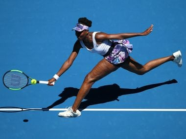 Venus Williams plays a forehand at the Australian Open. Getty