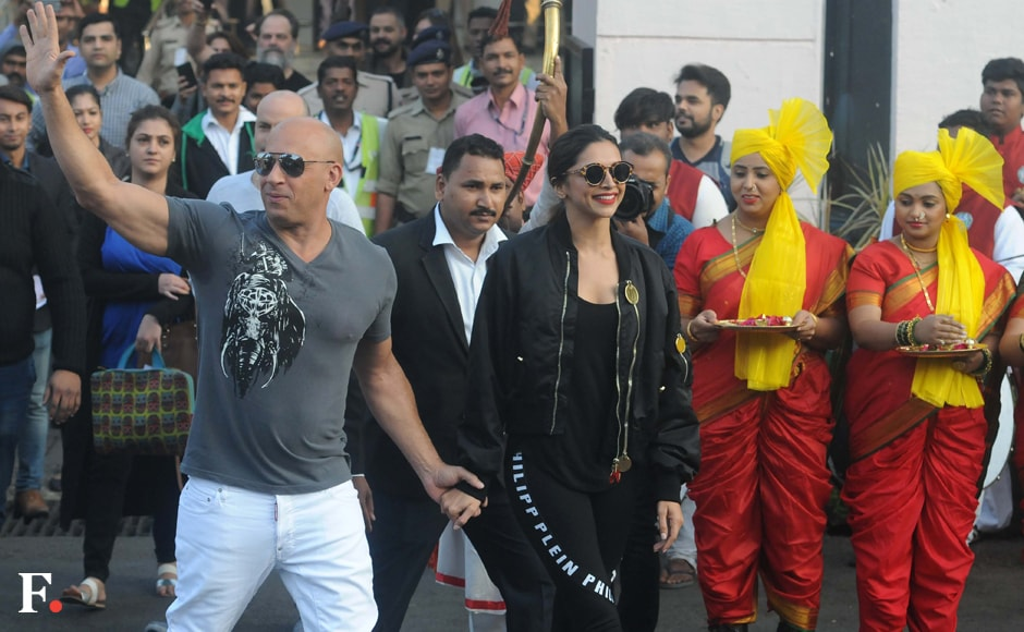 Vin Diesel and Deepika Padukone welcomed in traditional Indian style. Sachin Gokhale/Firstpost