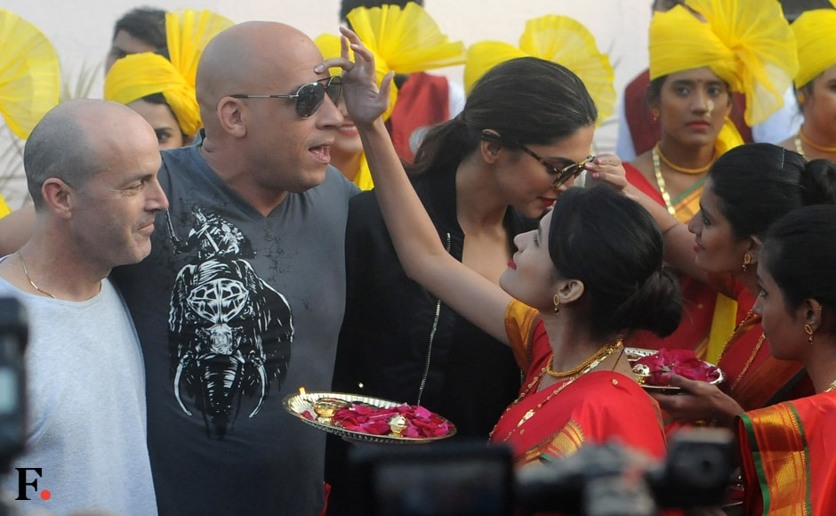 Vin Diesel and Deepika Padukone welcomed with the traditional tilak ceremony. Sachin Gokhale/Firstpost