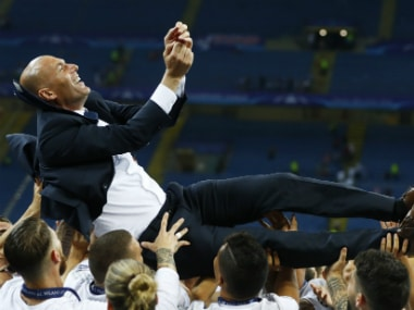 Zinedine Zidane being lifted by his Real Madrid players after winning the Champions League. Reuters