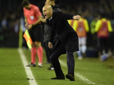 Real Madrid coach Zinedine Zidane shouts instructions from the sideline. AFP
