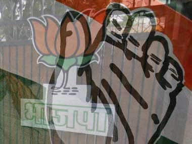 Congress and BJP flags. Reuters