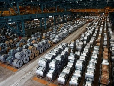 Rolls of steel are stacked inside the China Steel Corporation factory, in Kaohsiung, southern Taiwan.  Reuters