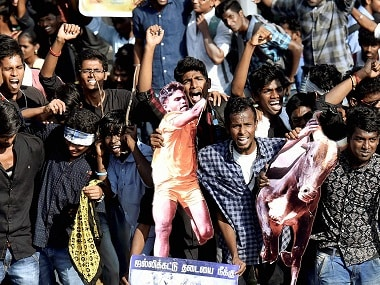 Students protesting to lift the ban on Jallikattu. PTI
