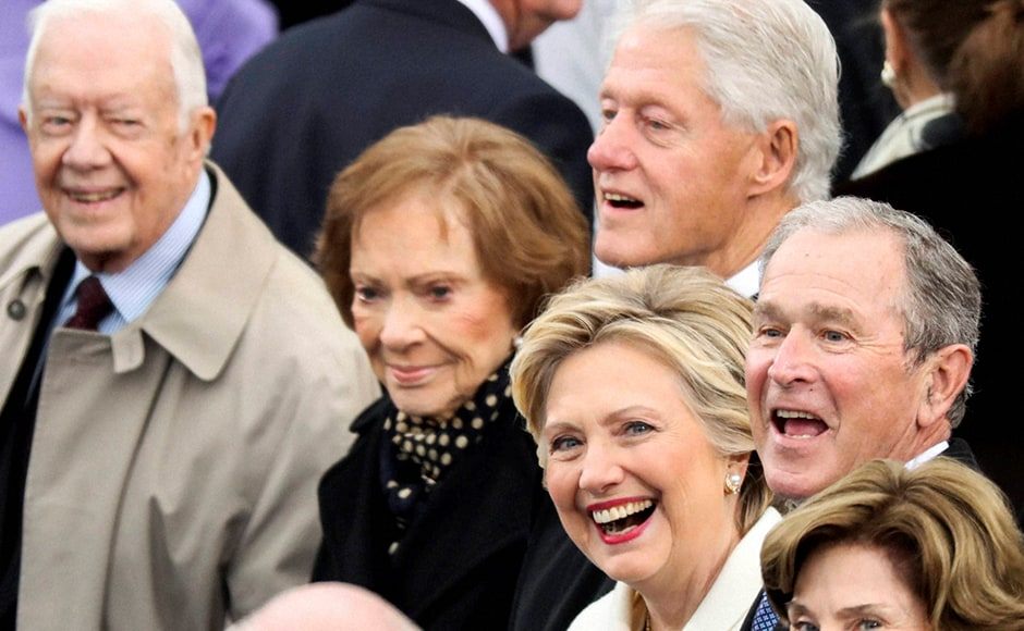 Former President Jimmy Carter (L-R), Rosalynn Carter, Former President Bill Clinton, Hillary Clinton and Former President George W. Bush were also at the 58th Presidential Inauguration. Hillary, who is a former first lady, had earlier fought hard in one of the most vicious campaigns for the run-up to US presidential elections, but the billionaire businessman defeated her in an upset win. AP