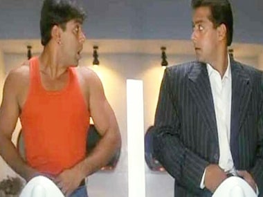 Salman Khan as Raja and Prem in a still from Judwaa