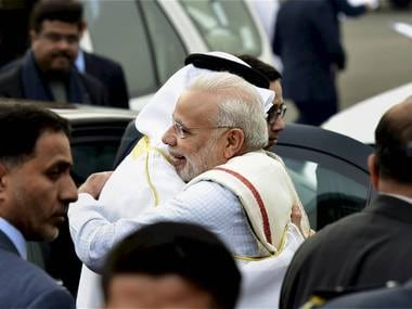 New Delhi: Prime Minister Narendra Modi greets Sheikh Mohammed Bin Zayed, Crown Prince of Abu Dhabi and Deputy Supreme Commander of the Armed Forces, upon his arrival on a state visit to India, at AFS Palam in New Delhi on Tuesday. The Crown Prince is the chief guest at India's Republic Day celebrations. PTI Photo by Kamal Kishore (PTI1_24_2017_000167B)