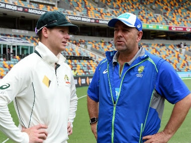 Australian captain Steve Smith (L) and head coach Darren Lehmann. AFP
