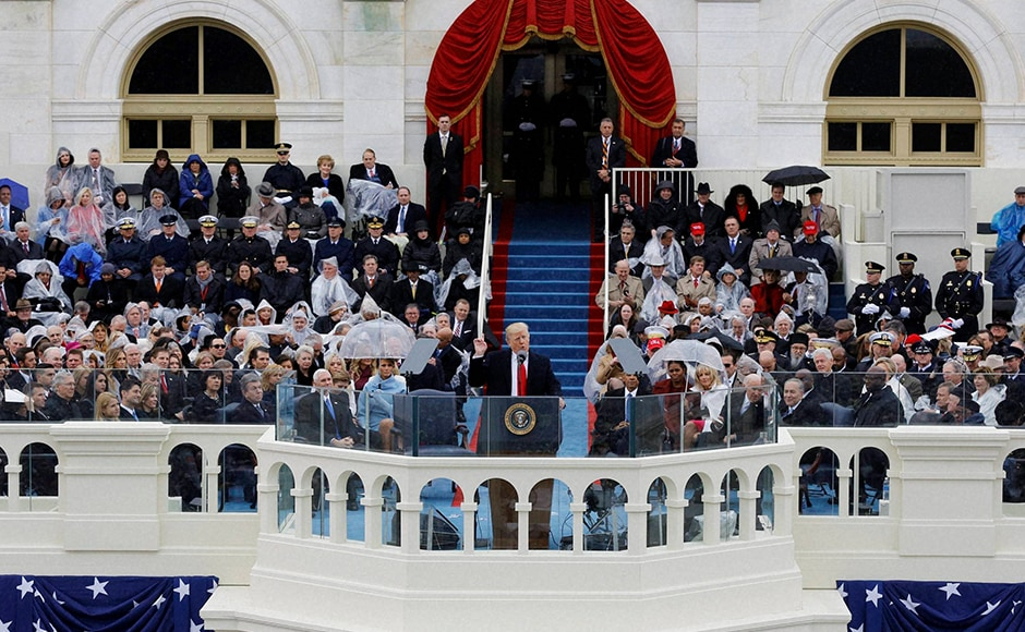 According to a Washington Post-ABC News poll, just 40 percent say they have a favorable impression of Trump, 54 percent view him unfavorably and 41 percent strongly dislike him. In contrast, outgoing President Obama's favorable rating stands at 61 percent.. President Donald Trump delivers his inaugural address after being sworn in as the 45th president of the United States. Photo: AP