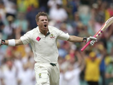 Australia's David Warner reacts after scoring a century against Pakistan in the 3rd Test in Sydney. AP