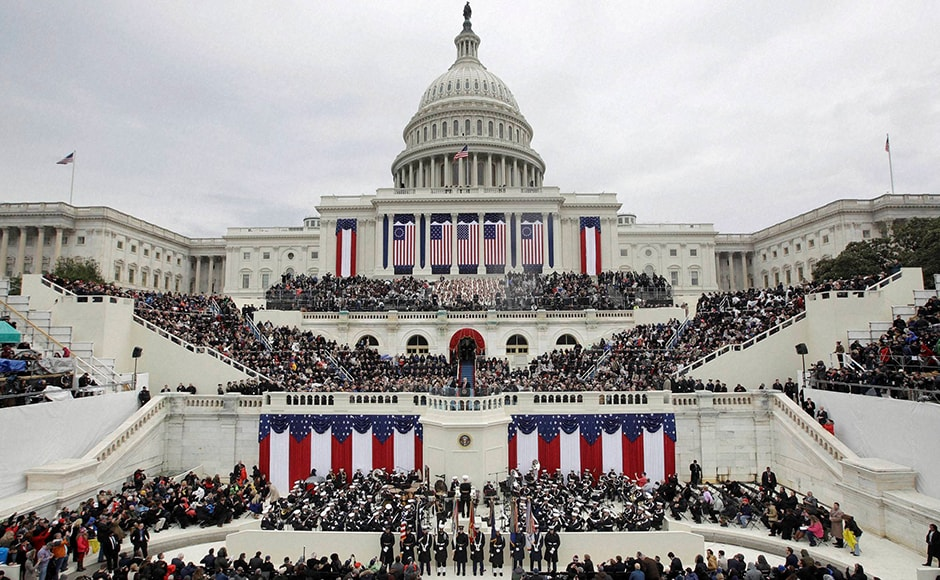 The US Capitol was decked up in the usual pomp and show ahead of the the 58th Presidential Inauguration in Washington. The crowd stretched westward on a cool day of occasional light rain, braving the chilly weather. However, his supporters gathered expecting to herald a dramatic change. AP