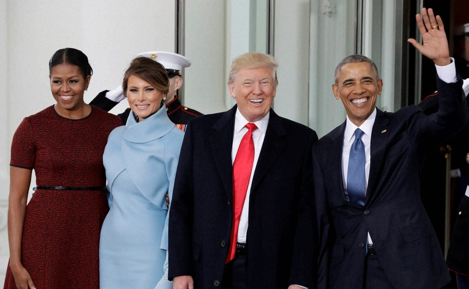 Donald Trump was sworn-in as the 45th US President, taking over the reins from Barack Obama amid expectations of radical change in policies and apprehension at home and abroad. Obama and First Lady Michelle greeted Trump and his wife Melania on the steps of the White House. Melania also presented to Michelle a Tiffany gift, one of the most expensive fine jewellery brands in the world.AP